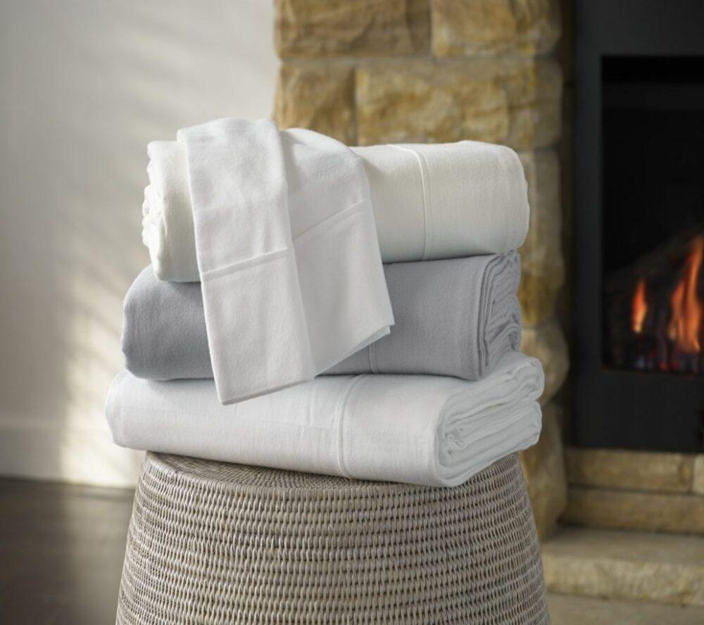 Flannelette Sheets White Cream Silver Linen Boutique