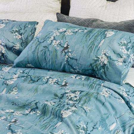 Cherry Blossom Duvet Set Cerulean Blue