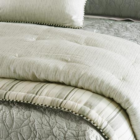 Stripe Linen Comforter PEZZATO - Ivory & Charcoal