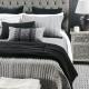 Charcoal Linen Bedspread with Herringbone Weave