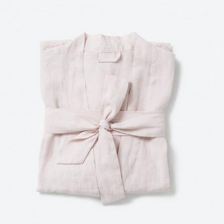 Women's Soft Pink Linen Dressing Gown