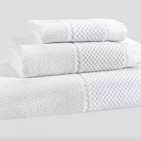 Velour Jacquard Towel WHITE 100% Egyptian Cotton