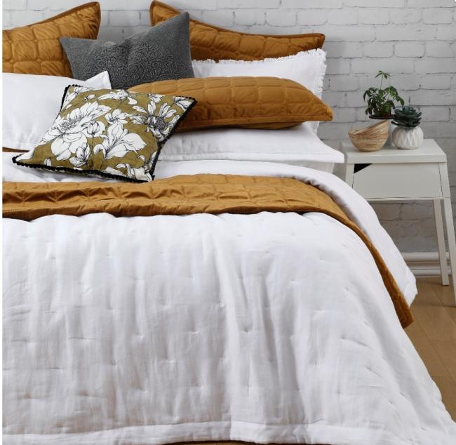 Laundered Linen Bedspread Set WHITE