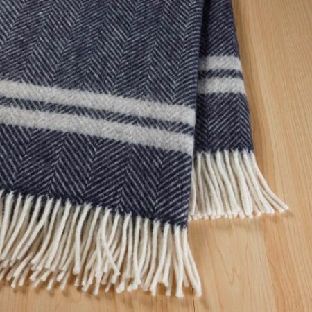 WOOL Throw Blanket SCALLOWAY Navy & White