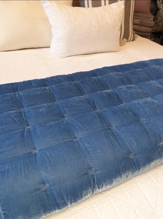 Comforter PIN VELVET OCEAN BLUE