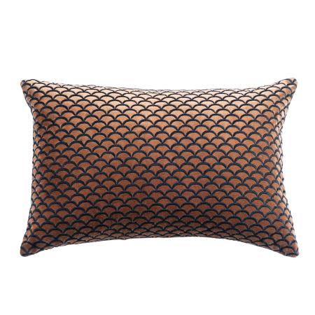 Cotton Velvet Cushion ARCO Antique Copper/Black