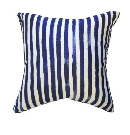 Navy Blue & White Stripe Double Sided Cushion