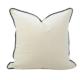 Velvet Cushion Luxe White Black Trim   The Boulevard