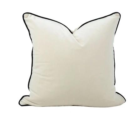 Velvet Cushion Luxe White Black Trim | The Boulevard