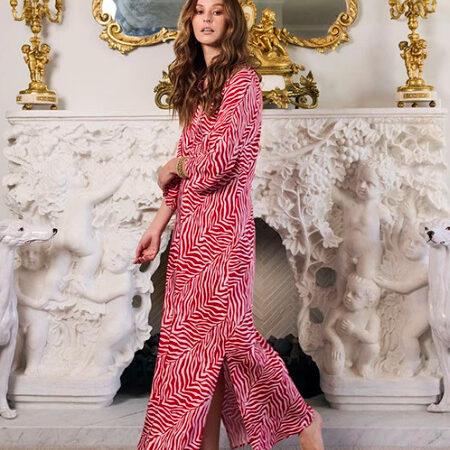 Night Shirt AMELIA ZEBRA Red/Pink | Elegant Loungewear