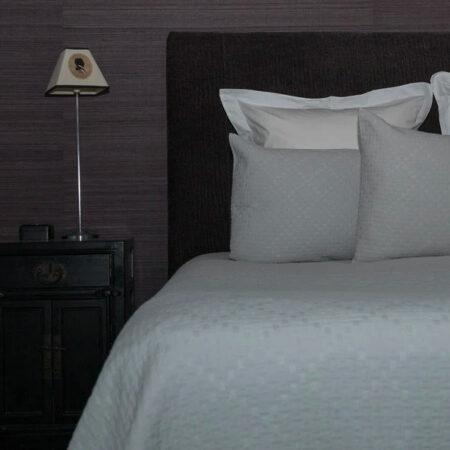 Cotton Bedspread GRASSI SILVER   Made in Portugal
