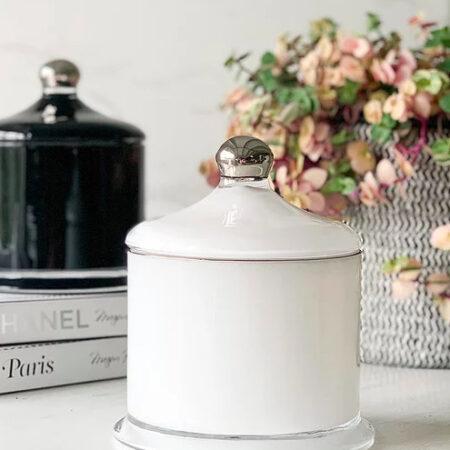 Candle VICTORIA White/Silver