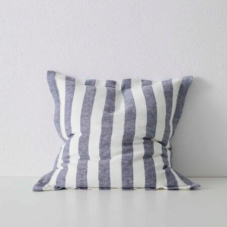 Striped Linen Cushion Luca Ocean