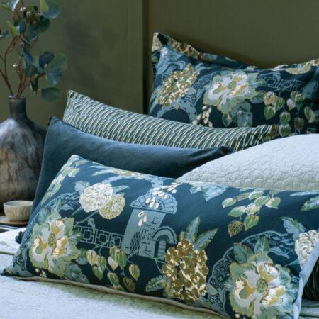 Floral Bolster Cushion CHABANA PRUSSIAN BLUE