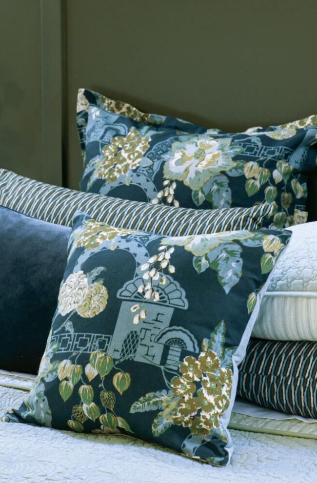 Floral Cushion CHABANA PRUSSIAN BLUE