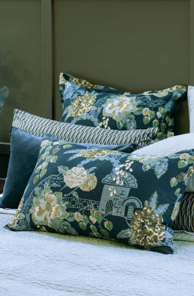 Floral Pillowcase Pair CHABANA Prussian Blue