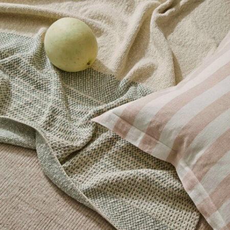 Striped Linen Cushion Luca Blush